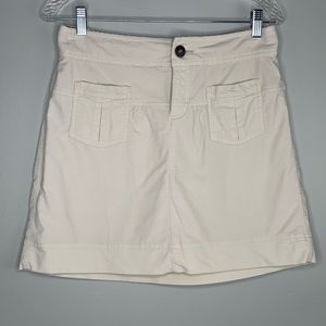 Athleta Skirt 4 Beige Corduroy Zipper Pockets
